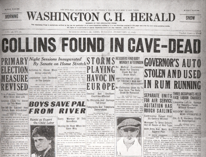 Cave explorer Floyd Collins died after being trapped in Mammoth Cave in Kentucky