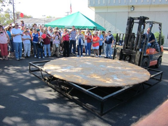 worlds largest country ham biscuit at the trigg county ham festival in cadiz, kentucky