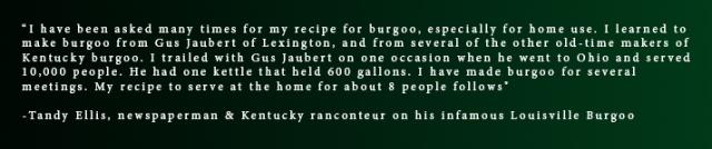 Tandy Ellis Burgoo Quote