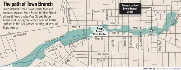 Town Branch Map Lexington, Kentucky via the Lexington Herald-Leader